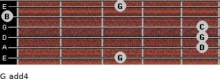 G add(4) for guitar on frets 3, 5, 5, 5, 0, 3