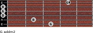 G add(m2) for guitar on frets 3, 2, 0, 0, 0, 4