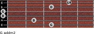 G add(m2) for guitar on frets 3, 2, 0, 0, 3, 4