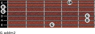 G add(m2) for guitar on frets 3, 5, 5, 0, 0, 4