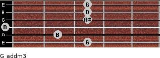 G add(m3) for guitar on frets 3, 2, 0, 3, 3, 3