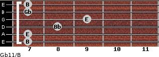 Gb11/B for guitar on frets 7, 7, 8, 9, 7, 7