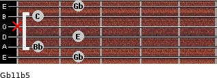 Gb11b5 for guitar on frets 2, 1, 2, x, 1, 2