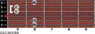 Gb13b5/Bb for guitar on frets 6, 6, x, 5, 5, 6