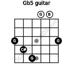 G(b5) for guitar on frets 3, 4, 5, 0, 0, 3