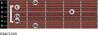 Gb6/11b5 for guitar on frets 2, 1, 1, 4, 1, 2