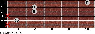 Gb6#5sus/Eb for guitar on frets x, 6, x, 7, 7, 10