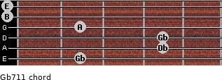 Gb-7/11 for guitar on frets 2, 4, 4, 2, 0, 0