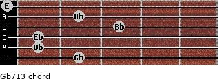 Gb7/13 for guitar on frets 2, 1, 1, 3, 2, 0