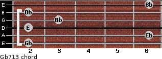 Gb7/13 for guitar on frets 2, 6, 2, 3, 2, 6