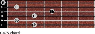 Gb7(-5) for guitar on frets 2, 1, 2, 3, 1, 0
