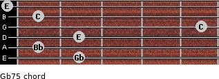 Gb7(-5) for guitar on frets 2, 1, 2, 5, 1, 0