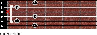 Gb7(-5) for guitar on frets 2, 1, 2, x, 1, 2