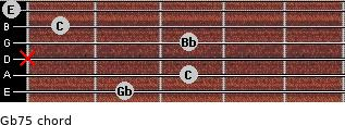 Gb7(-5) for guitar on frets 2, 3, x, 3, 1, 0
