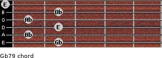 Gb7/9 for guitar on frets 2, 1, 2, 1, 2, 0