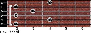 Gb7/9 for guitar on frets 2, 4, 2, 3, 2, 4