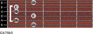 Gb7/9(b5) for guitar on frets 2, 1, 2, 1, 1, 2
