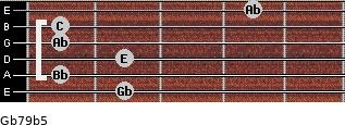 Gb7/9(b5) for guitar on frets 2, 1, 2, 1, 1, 4