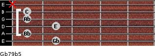 Gb7/9(b5) for guitar on frets 2, 1, 2, 1, 1, x