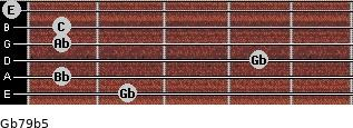 Gb7/9(b5) for guitar on frets 2, 1, 4, 1, 1, 0