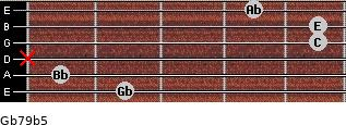 Gb7/9(b5) for guitar on frets 2, 1, x, 5, 5, 4