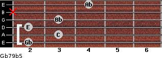 Gb7/9(b5) for guitar on frets 2, 3, 2, 3, x, 4