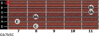 Gb7b5/C for guitar on frets 8, 7, 8, 11, 11, x
