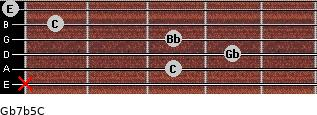 Gb7b5/C for guitar on frets x, 3, 4, 3, 1, 0