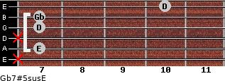Gb7#5sus/E for guitar on frets x, 7, x, 7, 7, 10