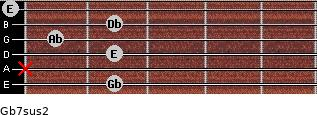Gb7sus2 for guitar on frets 2, x, 2, 1, 2, 0