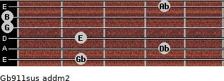 Gb9/11sus add(m2) guitar chord