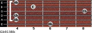 Gb9/13/Bb for guitar on frets 6, 4, 4, 8, 5, 4