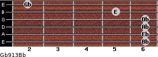Gb9/13/Bb for guitar on frets 6, 6, 6, 6, 5, 2