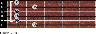 GbMaj7/13 for guitar on frets 2, 1, 1, 1, 2, 1