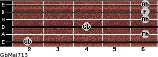 GbMaj7/13 for guitar on frets 2, 6, 4, 6, 6, 6