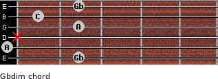 Gbdim for guitar on frets 2, 0, x, 2, 1, 2