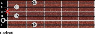 Gbdim6 for guitar on frets 2, 0, 1, x, 1, 2