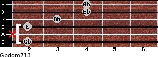 Gbdom7/13 for guitar on frets 2, x, 2, 3, 4, 4