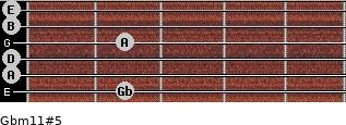 Gbm11#5 for guitar on frets 2, 0, 0, 2, 0, 0