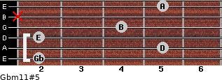 Gbm11#5 for guitar on frets 2, 5, 2, 4, x, 5