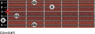 Gbm6#5 for guitar on frets 2, 0, 1, x, 3, 2