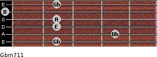 Gbm7/11 for guitar on frets 2, 4, 2, 2, 0, 2