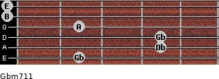 Gbm7/11 for guitar on frets 2, 4, 4, 2, 0, 0