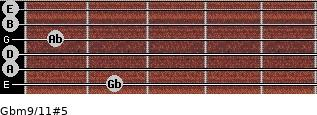 Gbm9/11#5 for guitar on frets 2, 0, 0, 1, 0, 0