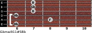 Gbmaj9/11#5/Bb for guitar on frets 6, 8, 6, 7, 7, 7