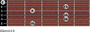 Gbmin13 for guitar on frets 2, 4, 4, 2, 4, 0