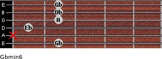 Gbmin6 for guitar on frets 2, x, 1, 2, 2, 2