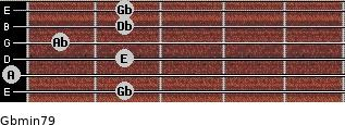 Gbmin7/9 for guitar on frets 2, 0, 2, 1, 2, 2