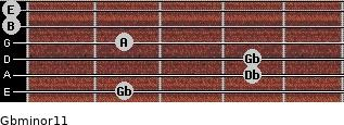 Gbminor11 for guitar on frets 2, 4, 4, 2, 0, 0