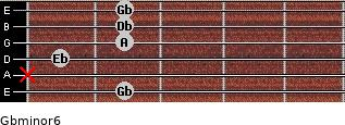 Gbminor6 for guitar on frets 2, x, 1, 2, 2, 2